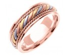 Tri Color Gold Hand Braided Wedding Band 7mm TC-560C