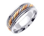Tri Color Gold Hand Braided Wedding Band 7mm TC-560B