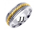 Two Tone Gold Hand Braided Wedding Band 7mm TT-560B
