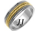 Two Tone Gold Hand Braided Wedding Band 7mm TT-553B