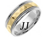 Two Tone Gold Hammered Wedding Band 8.5mm TT-555B