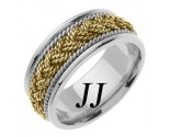 Two Tone Gold Sailor Braid Wedding Band 9mm TT-556B