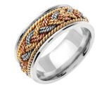 Tri Color Gold Sailor Braid Wedding Band 8mm TC-556C