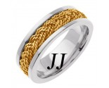 Two Tone Gold Sailor Braid Wedding Band 6mm TT-557B