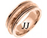 Rose Gold Hammered Wedding Band 8.5mm RG-569