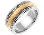 Two Tone Gold Hammered Wedding Band 8.5mm TT-569A