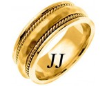Yellow Gold Hammered Wedding Band 8.5mm YG-569