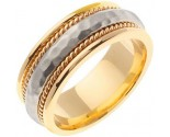 Two Tone Gold Hammered Wedding Band 8.5mm TT-569B