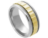 Two Tone Gold Designer Wedding Band 7.5mm TT-588B