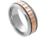 Two Tone Gold Designer Wedding Band 7.5mm TT-588C