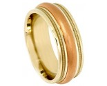 Two Tone Gold Designer Wedding Band 7.5mm TT-593B