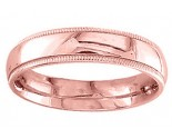 5mm Milgrain Plain Rose Gold Wedding Band PLNRMB-5mm