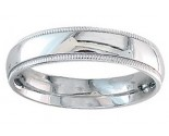 5mm Milgrain Plain White Gold Wedding Band PLNWMB-5mm