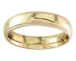 5mm Milgrain Plain Yellow Gold Wedding Band PLNYMB-5mm