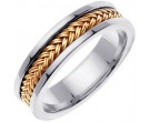 Two Tone Gold Hand Braided Wedding Band 6mm TT-651A