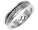 White Gold Hand Braided Wedding Band 6mm WG-651