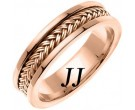 Rose Gold Hand Braided Wedding Band 6mm RG-651