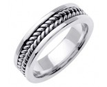 White Gold Hand Braided Wedding Band 6mm WG-652