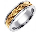 Two Tone Gold Leaf Wedding Band 7mm TT-653A