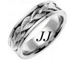 White Gold Leaf Wedding Band 7mm WG-653