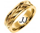 Yellow Gold Leaf Wedding Band 7mm YG-653
