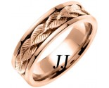 Rose Gold Leaf Wedding Band 7mm RG-653