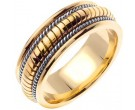 Two Tone Gold Snake Braided Wedding Band 8mm TT-654A