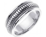 White Gold Snake Braided Wedding Band 8mm WG-654