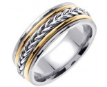 Two Tone Gold Hand Braided Wedding Band 8mm TT-655A