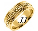 Yellow Gold Hand Braided Wedding Band 8mm YG-655