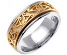 Two Tone Gold Celtic Wedding Band 8mm TT-657A