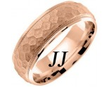 Rose Gold Hammered Wedding Band 7mm RG-658