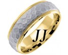 Two Tone Gold Hammered Wedding Band 7mm TT-658A