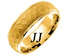 Yellow Gold Hammered Wedding Band 7mm YG-658