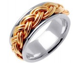 Two Tone Gold Hand Braided Wedding Band 10mm TT-661