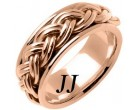 Rose Gold Hand Braided Wedding Band 10mm RG-661