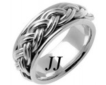 White Gold Hand Braided Wedding Band 10mm WG-661