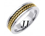 Two Tone Gold Hand Braided Wedding Band 6mm TT-652B