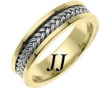 Two Tone Gold Hand Braided Wedding Band 6mm TT-651B