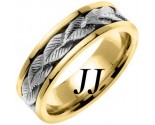 Two Tone Gold Leaf Wedding Band 7mm TT-653B