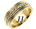 Two Tone Gold Hand Braided Wedding Band 8mm TT-655B