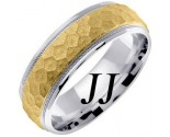Two Tone Gold Hammered Wedding Band 7mm TT-658B