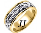 Two Tone Gold Inter-Braided Wedding Band 8mm TT-659B