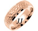 Rose Gold Hammered Wedding Band 7mm RG-672
