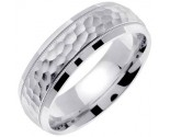 White Gold Hammered Wedding Band 7mm WG-672