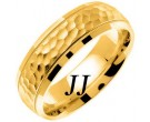 Yellow Gold Hammered Wedding Band 7mm YG-672