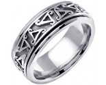 White Gold Celtic Wedding Band 8mm WG-657