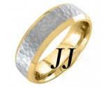Two Tone Gold Hammered Wedding Band 6.5mm TT-751A