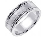 White Gold Hammered Wedding Band 8mm WG-752