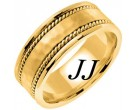 Yellow Gold Hammered Wedding Band 8mm YG-752